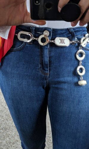 Celine Cinturón de cadena blanco-color plata acero inoxidable