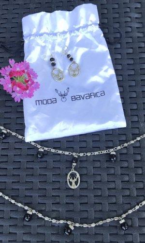 Cinturón de cadena negro-color plata