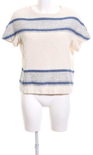 Closed Sweater met korte mouwen wolwit-blauw gestreept patroon