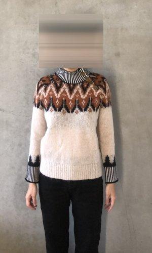 Coach Sweater met korte mouwen lichtbruin-wolwit Wol