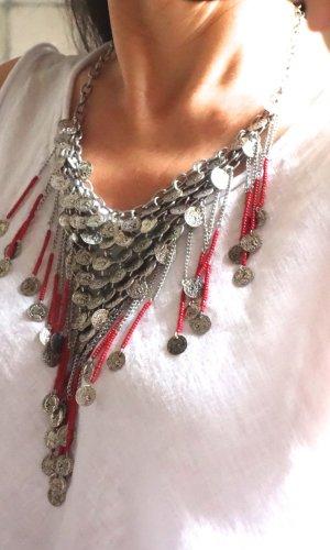 Collier, Modeschmuck, kurze Kette, aus silbernen Münzen, kleinen Perlen, Metall, geprägte Münzen, #Hippie, #Noa, #Boho, #Statement Kette, auffällig und extravagant, sehr schön, Spanien, neu, ungetragen
