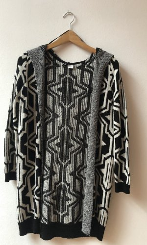 H&M Chaleco de punto largo negro-blanco