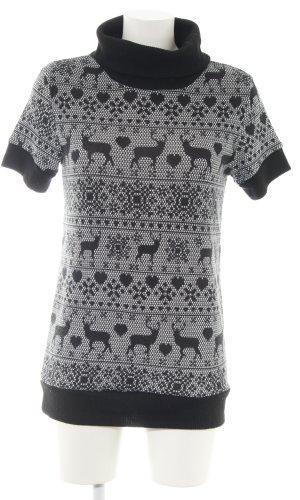 Sweater met korte mouwen zwart-wit grafisch patroon casual uitstraling