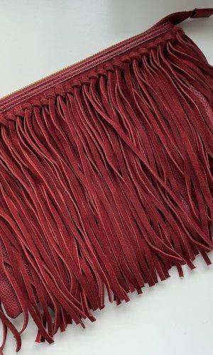 H&M Premium Fringed Bag bordeaux-gold-colored