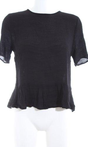 Custommade Kurzarm-Bluse schwarz Casual-Look