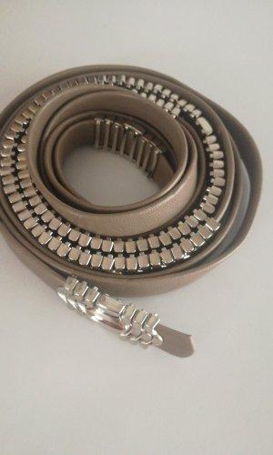 Cinturón de cadena marrón grisáceo Cuero