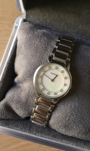 DKNY Armbanduhr Edelstahl Perlmutt Zirkonia