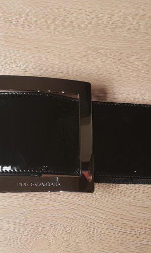 Dolce & Gabbana Breiter Lack / Leder Gürtel