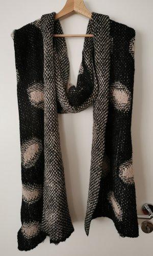Bufanda de punto negro-crema