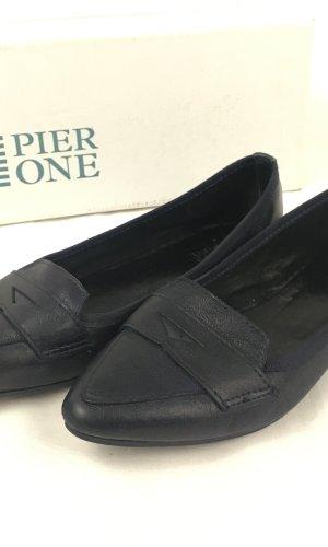 Pier one Moccasins black-dark blue leather