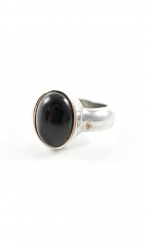Dyrberg/Kern Silver Ring silver-colored-black business style