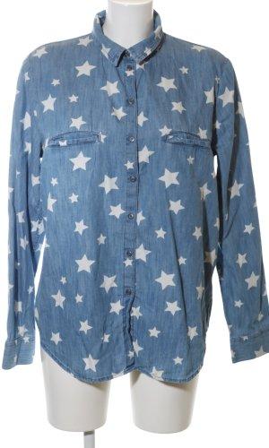 edc Denim Shirt blue-white allover print casual look