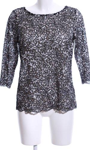Esprit Gehaakt shirt zwart-lichtgrijs bloemenprint elegant