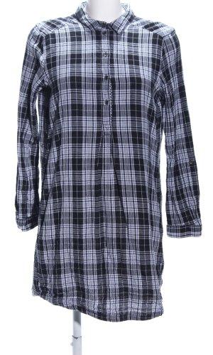 Esprit Robe chemise noir-blanc motif à carreaux style décontracté