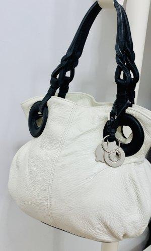Exklusiv *Blankflow*- Hobo bag Glanzleder Henkeltasche Ivory schwarz midi