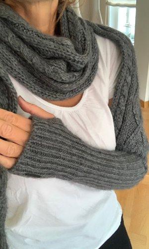 Escada Sport Bufanda de punto gris oscuro-gris lana de esquila