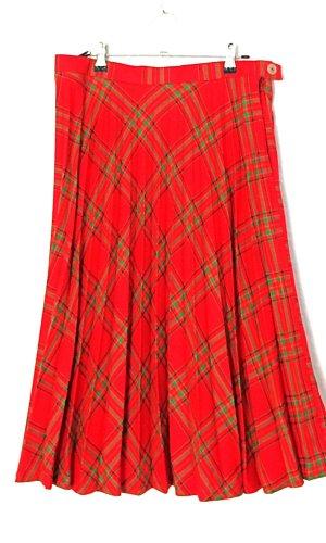 Vintage Jupe à plis rouge-vert laine