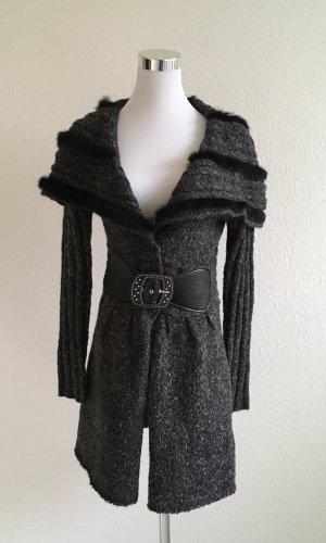 Abrigo de punto gris oscuro-negro