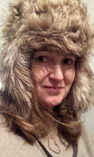 Chapeau en fourrure gris brun-blanc cassé