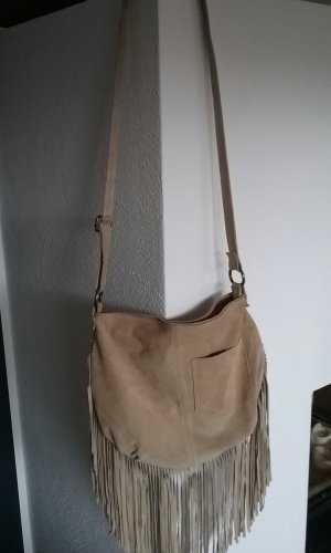 Genuine Leather Fringed Bag sand brown leather