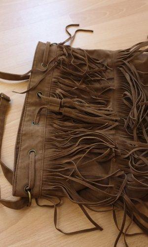 Fringed Bag brown imitation leather