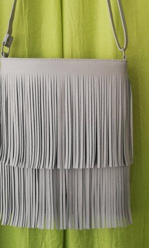 Fringed Bag silver-colored mixture fibre