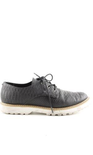 Gaudi Zapatos estilo Richelieu negro-blanco puro estampado de animales