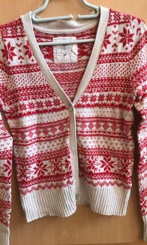 H&M L.O.G.G. Cárdigan de estilo noruego blanco puro-rojo
