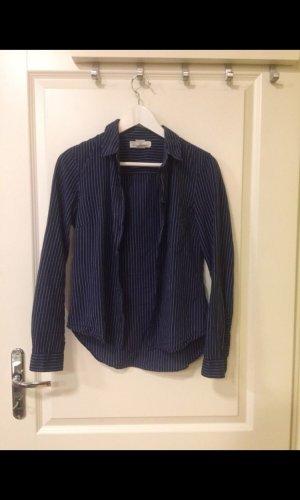 H&M Lange blouse wit-donkerblauw