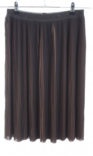 Gestuz Jupe à plis brun-noir motif rayé style d'affaires