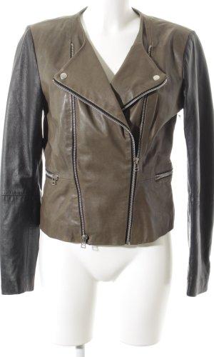 Goosecraft Lederjacke khaki-schwarz Biker-Look