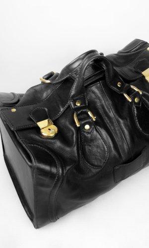 Bolso de viaje negro-color oro Cuero