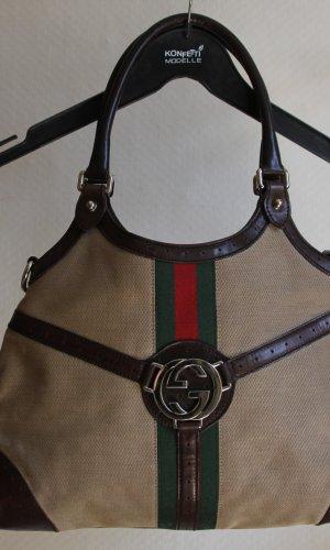 Gucci Canvas Handtasche mit Lederbesatz