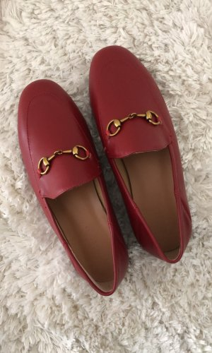 Moccasins dark red leather