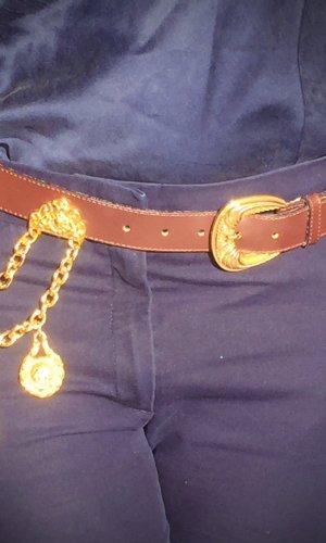 Cinturón de cadena marrón oscuro Imitación de cuero