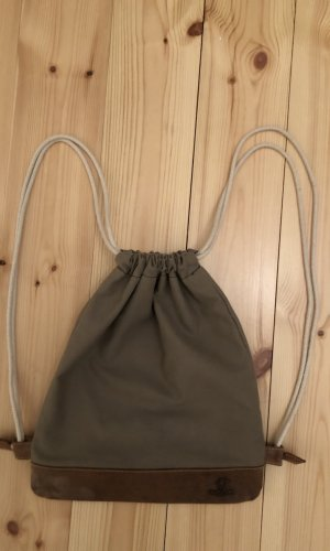 Sports Bag grey brown-brown leather