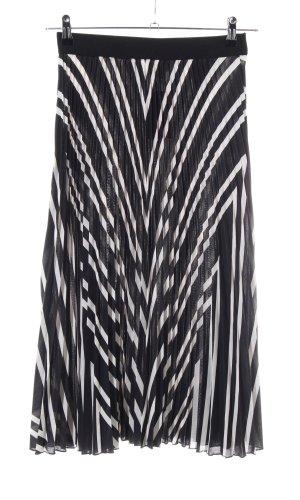 H&M Jupe à plis noir-blanc cassé motif rayé élégant