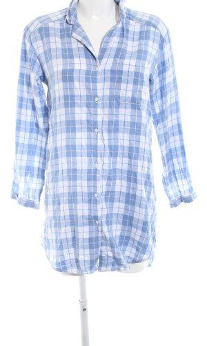 H&M Robe chemise blanc-bleu motif à carreaux style décontracté