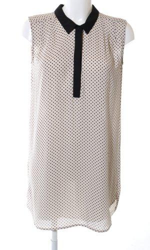 H&M Long-Bluse wollweiß-schwarz Allover-Druck Business-Look
