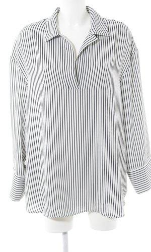 H&M Long-Bluse schwarz-weiß Allover-Druck Business-Look