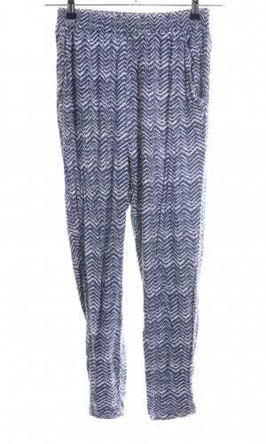 H&M Stoffhose blau-weiß abstraktes Muster Casual-Look