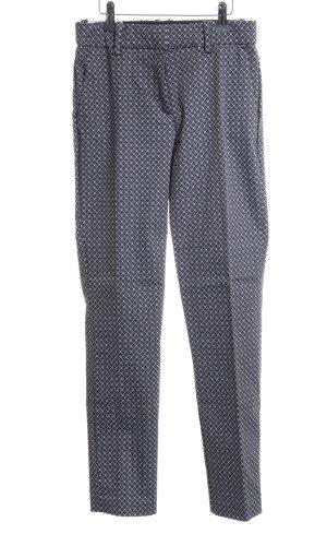 H&M Stoffhose blau-weiß Allover-Druck Business-Look