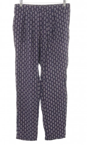 H&M Stoffhose blau-wollweiß abstraktes Muster Casual-Look