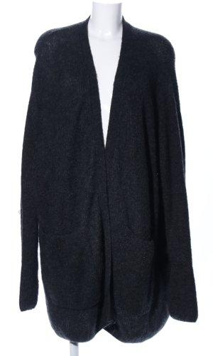H&M Strick Cardigan schwarz meliert Casual-Look