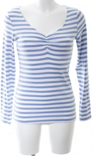 H&M Sweatshirt weiß-blau Streifenmuster Casual-Look