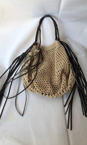Fringed Bag beige-dark brown