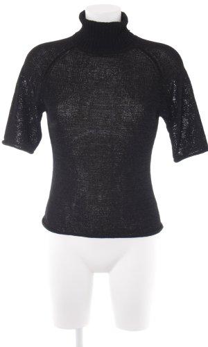 Hallhuber Sweater met korte mouwen zwart casual uitstraling