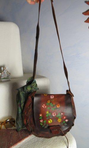 handbemalte Braune Saddle Bag Vintage Ledertasche in Handarbeit hergestellt Ethno Tasche Boho Stil