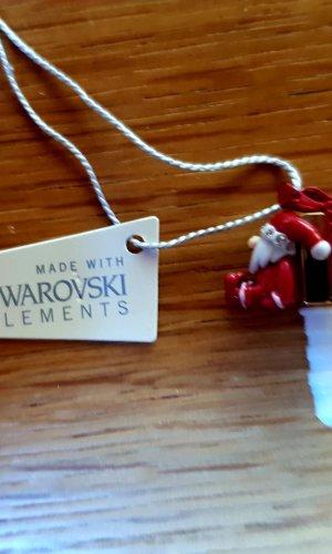 Swarovski Botón blanco-rojo oscuro