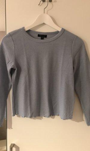 Topshop Cropped Shirt blue mixture fibre